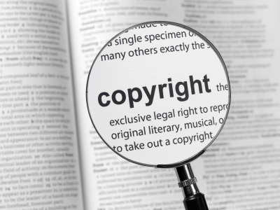 copyright image with magnifying glass