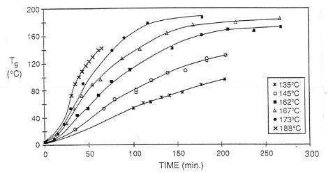 Tg versus time for isothermal curing of DGEBA and DDS