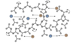 Polymer at gel point with the beginning of network formation